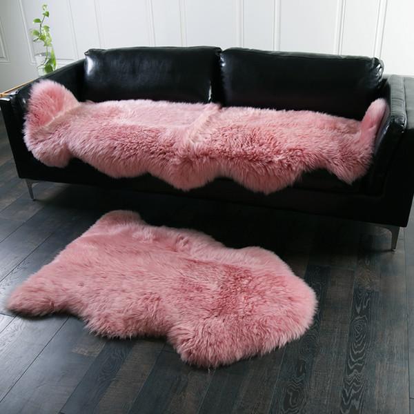 Acheter Tapis En Peau De Mouton De Nouvelle Zélande 60 * 180cm De Couleur  Rose Miel Véritable 2P Véritable, Tapis De Décoration De Fourrure De ...