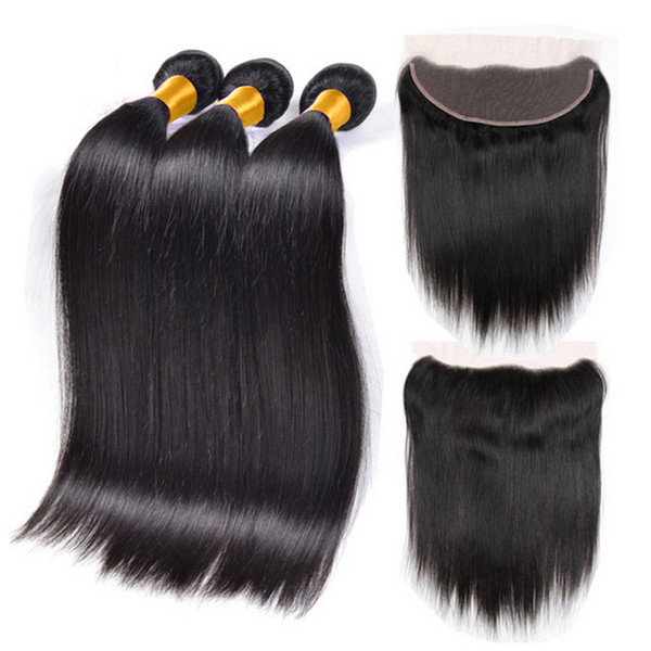 Peruvian Silky Straight Hair Weaves With Full Lace Frontal Closure Free Parting 13x4 Lace Frontal With 3Pcs Human Hair Bundles 4Pcs Lot