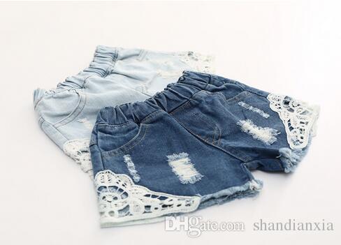 Denim Shorts Menina Coreana Calções de Renda Calças de Brim Do Miúdo Verão Meninas Denim Calças Bonito Moda Infantil Shorts