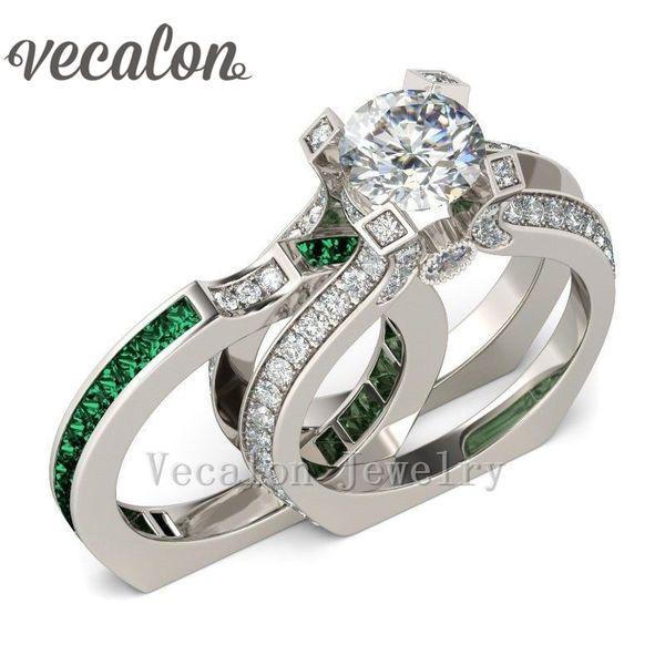 Anello di fidanzamento di lusso femminile Vecalon Emerald diamante simulato Cz 925 Anello di nozze in argento sterling Set per le donne
