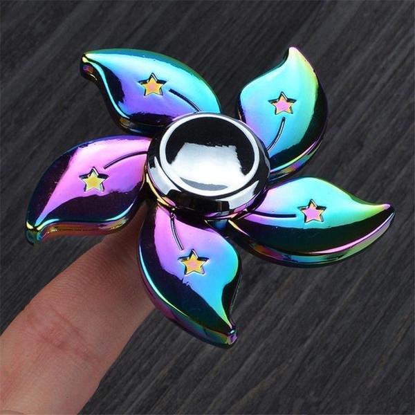 NUOVO Rainbow in alluminio metallo Fidget Spinner mano SPIN EDC stress FOCUS Dito Giocattolo
