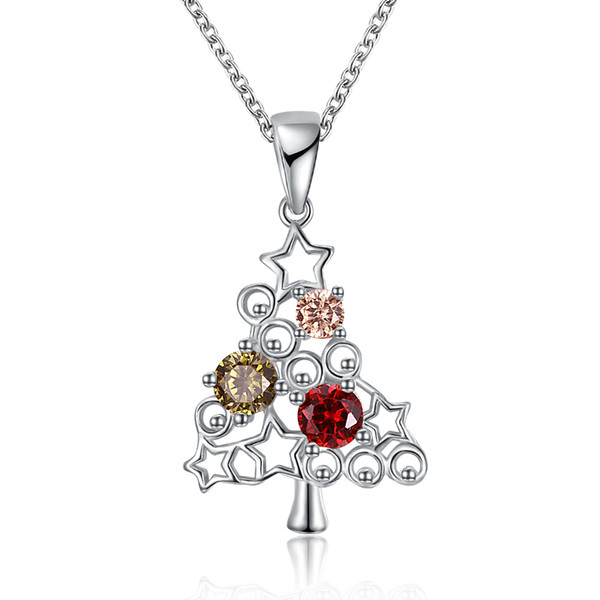 Christmas Series Zircon Necklace Two-color (Rose Gold Platinum) Christmas Tree Star Fashion Necklace Women Girl Xmas Jewelry Party Gifts