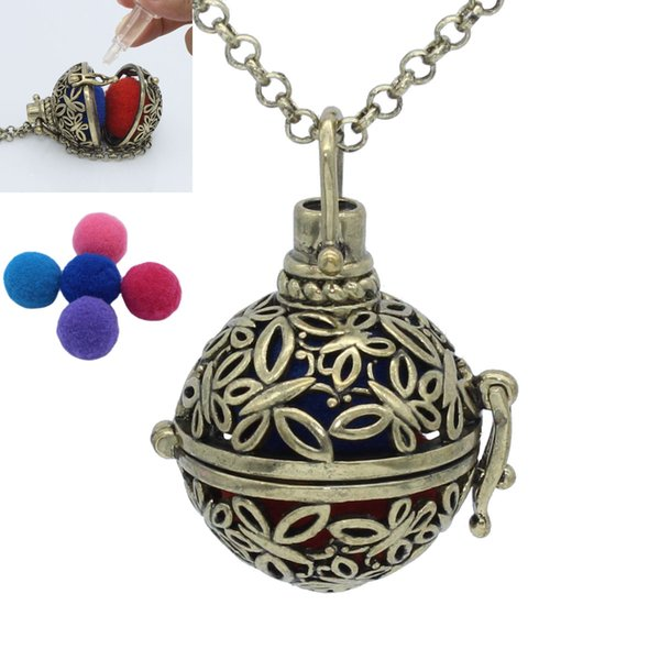 Charms Antique Bronze Hollow Butterfly Locket Cage Pendant For Essential Oil Aromatherapy Diffuser Chain Necklace Jewelry Gift