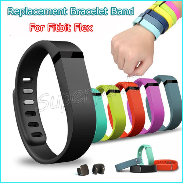 Fitbit Flex Bracelet Wristband Replacement Rubber Wearable Straps Band Metal Clasp Smart Bracelet Band 8 Colors Small Large Size DHL 50pcs