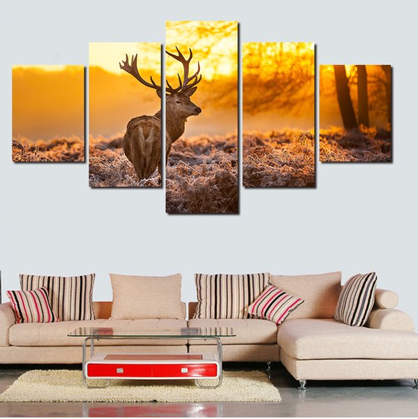 2019 2016 New Hot Print Deer Animal Oil Paintings Picture Canvas Painting  On Wall Pictures For Living Room Decor Hang Paintings Bedroom From ...