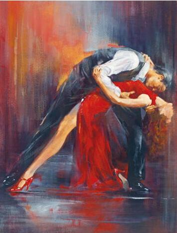 Framed Love Tango Dance Lady,Pure Hand-painted Portrait Art Oil Painting,Home Wall Decor High Quality Canvas Multi Sizes Available