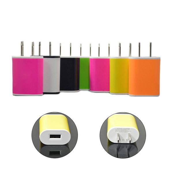 Chargeurs muraux colorés 5V 1A USB US EU Plug Home Adaptateur secteur Chargeur mural pour tous les téléphones mobiles Tablet Ipad Apple Samsung