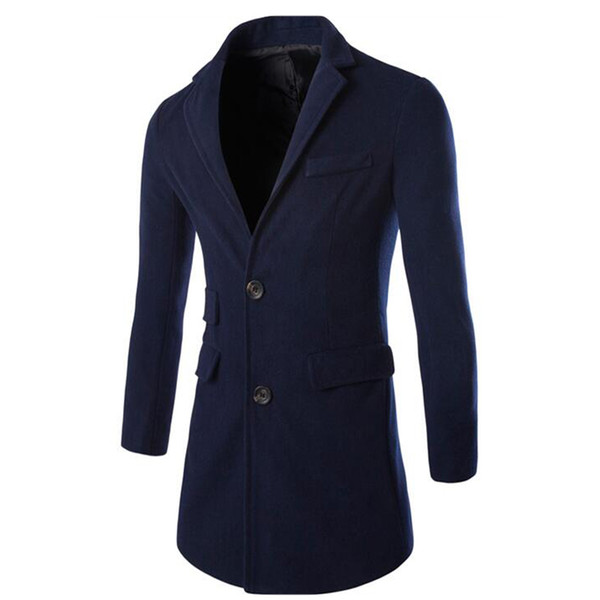 Queda-2016 Venda Quente Outono Inverno Correspondência de Cores casaco de Lã Dos Homens Trench Coat Casaco Quente Dois Botão Casaco 3 Cores