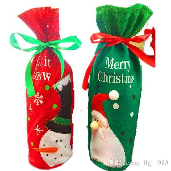 2016 Hot s 2 styles Noël Décoration d'intérieur Noël cadeau mignon Cartoon Santa Claus Bonhomme de neige Manchon de bouteille de vin (12pcs / lot)