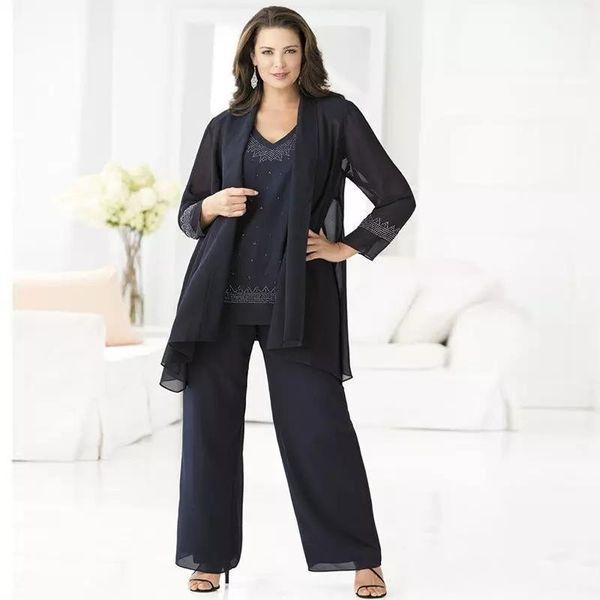 Cheap Navy Blue Mother Of The Bride Pant Suits Elegant 3 Piece Plus Size Chiffon Pant Suit 2017 Cheap Groom Mother Wedding Outfits Dress