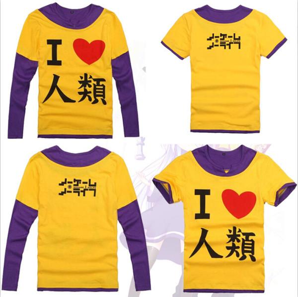 All'ingrosso-2 Stili NO GIOCO NO LIFE Sora Cosplay Manica lunga T-shirt casual Unisex Uomo Donna Camicie di cotone False due pezzi Tee Shirt