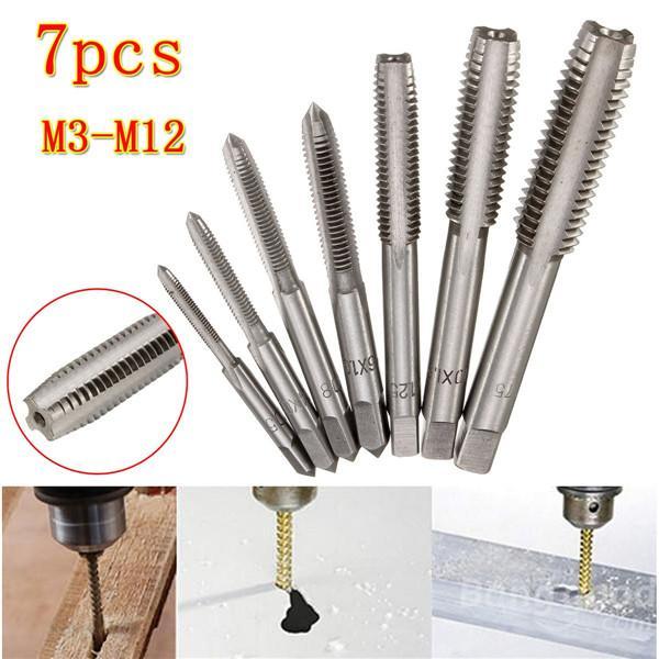 top popular 7pcs M3 to M12 Metric HSS Thread Tap Set Metric Plug Tap Drill Bits 2019