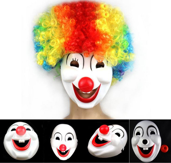 Halloween Hite Clown Red Nose mask Funny Fancy Dress Party Jester Jolly Mask PVC Masquerade Mask Carnival Masks white festive event props
