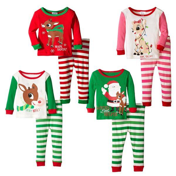 2016 Christmas pajamas baby girl outfits reindeer santa claus Sleepwear Long Sleeve Nightwear Children Christmas Clothing set free express
