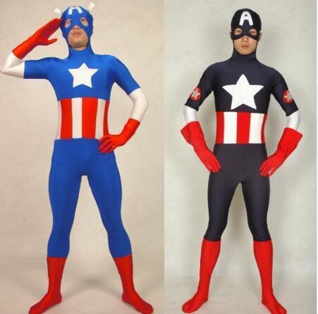 Two StylesThe Avengers Captain America Halloween Costumes For Men Adult Child Lycra Spandex Anime SuperHero Cosplay Zentai Suit