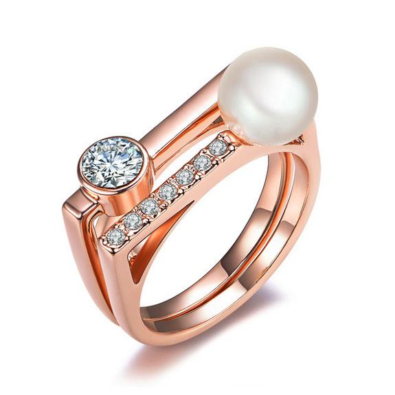 2pcs per Set Elegant Alloy18K Gold/Imitation Rhodium Plated Pearl Rings Cubic Zircons Inserted Geometry Lady's Finger Ring Wedding jewelry