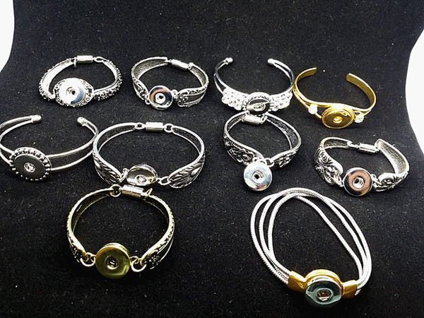 wholesale mix styles 10pcs retro silver gold women's ginger 18mm snap buttons cuff Charm Chunk Bangles Bracelets