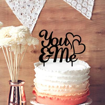Romantic Wedding Anniversary Cake Topper, you & Me with 2 Hearts Cake Topper Party Decoration Cupcake Stand