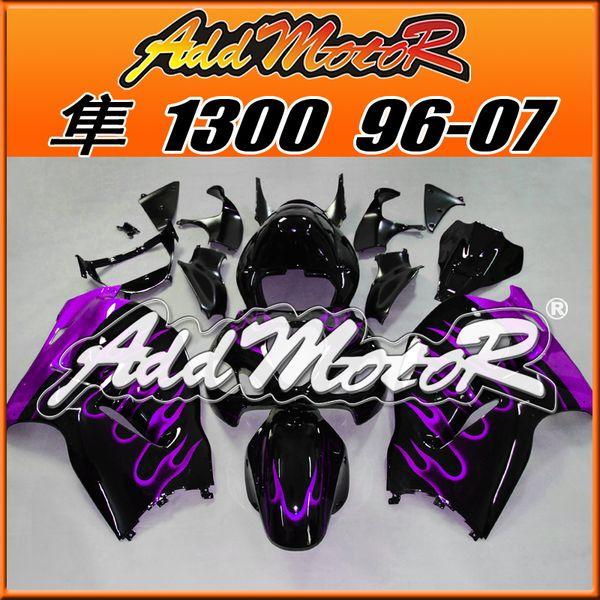 Best Selling Fairings Addmotor Injection Mold Plastic para Suzuki GSXR1300 Hayabusa 96-07 Flames Purple Black S3606 +5 regalos gratis El mejor Chioce