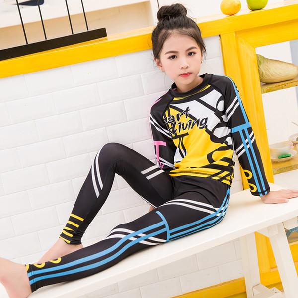 Kinder Mädchen UV-Sonnenschutz-Grafik-Print Bademode Set Tops mit langen Ärmeln Hose zum Schwimmen