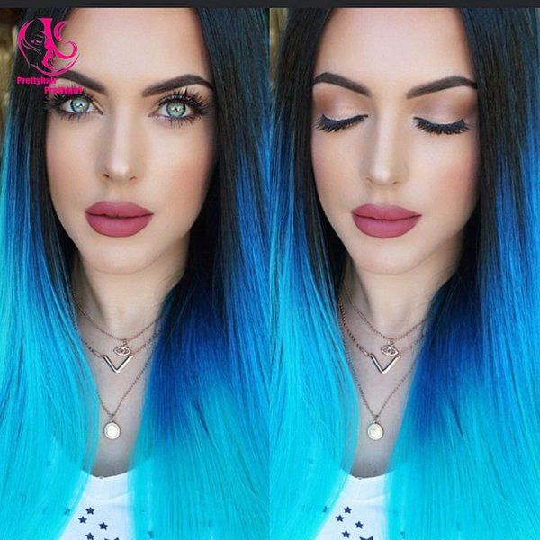 Free Shipping heat resistant Glueless silky straight 1bT blue green hair three tone turquoise ombre synthetic lace front wig