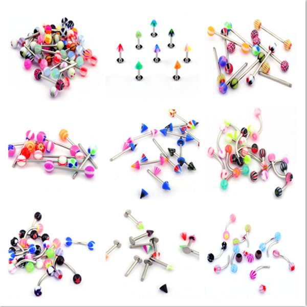 Wholesale 50PCS Mix Lots Stainless Steel Acrylic Eyebrow Navel Belly Lip Tongue Bar Nose Rings for Women Body Piercing Jewelry