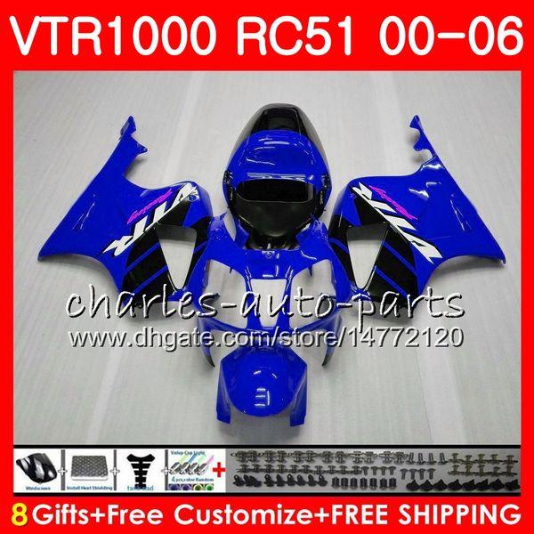 Body For HONDA VTR1000 RC51 TOP blue black SP1 SP2 00 01 02 03 04 05 06 92NO7 RTV1000 VTR 1000 00 2000 2001 2002 2003 2004 2005 2006 Fairing