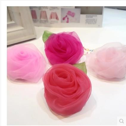 Boutique Hair rose with Clips Baby Girls big rose flower Hairpins Ribbon rose Barrettes Childrens Hair Accessories 4 Colors