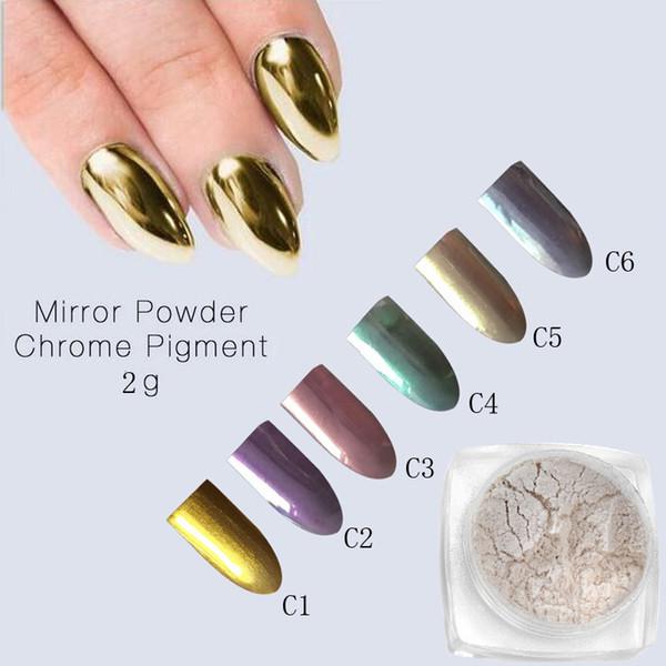 2g Mirror Powder Gold Silver Pigment Nail Glitter Nail Art Chrome ...