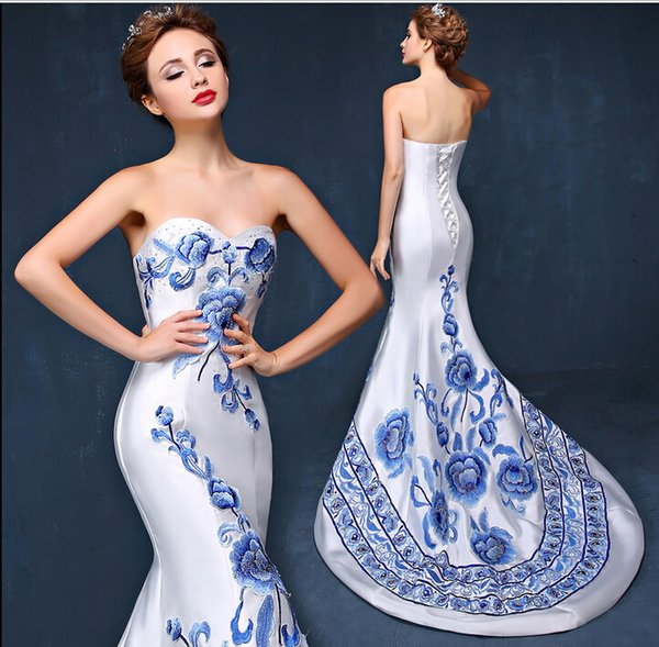 China Vintage Mermaid Evening Dresses 2016 Off Shoulder Corset Back Sweep Train Printed Prom Formal Pageant Celebrity Gown Red Carpet Custom