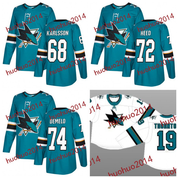 sneakers for cheap a356c 04530 2019 2017 2018 Season San Jose Sharks Jerseys 68 Melker Karlsson 72 Tim  Heed 74 Dylan DeMelo Hockey Jerseys From Huohuo2014, $40.61 | DHgate.Com