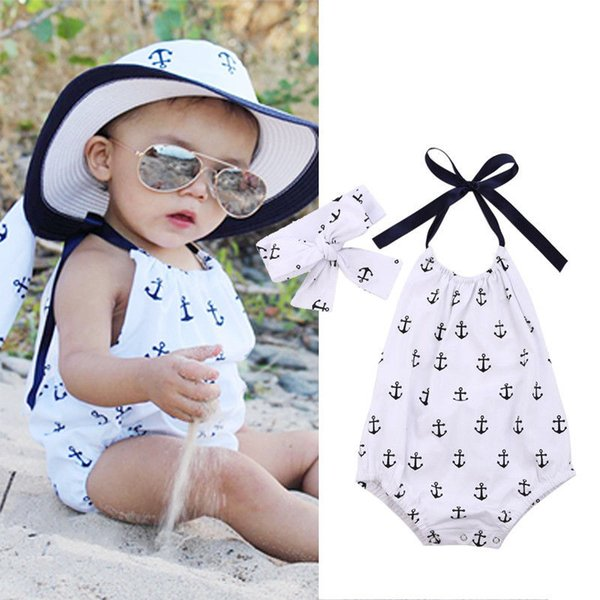 top popular fashion baby bodysuits with cute hair band 2PCS Newborn Kids Baby Girl Clothes Bodysuit logo printed girls Romper Jumpsuit cotton Playsuit 2020