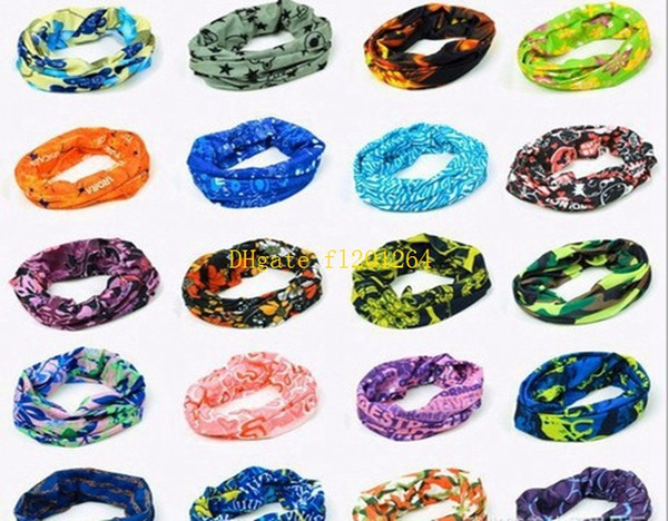 top popular 50pcs lot DHL FEDEX Free Shipping Multi Function Bandana Motorcycle Biker Face Mask Neck Tube Scarf 20 colors for choice 2020