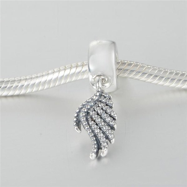 feather beads charms authentic S925 silver jewelery fits for pandora autumn style bangle bracelet and necklace free shipping aleLW613