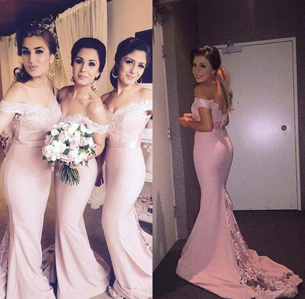 Blush Pink Bridesmaids Dresses Mermaid Off The Shoulder Lace And Chiffon Sash Bodycon Wedding Guests Gowns With Sweep Train