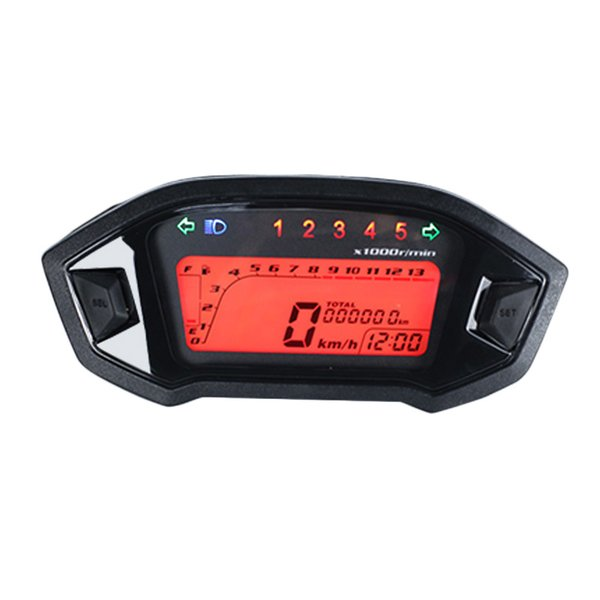 Universal 199KMH Motorcycle Modified Tachometer Digital 12V 35W Speedometer LCD digital Odometer With Sensor Case For M3