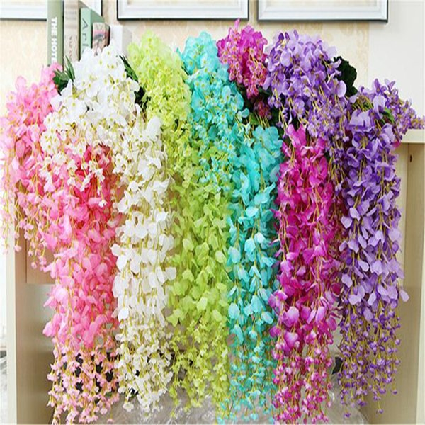 Flower Vine/Wisteria Wedding Decor 110cm 75cm 6 colors Artificial Decorative Flowers Garlands for Party Wedding Wreaths B0103