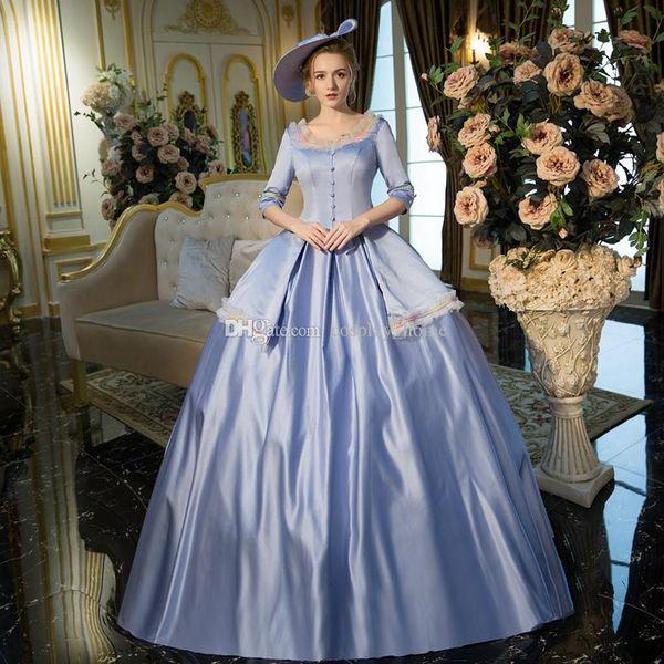 Großhandel 2016 blaues Rokoko barockes Marie Antoinette Ballkleid ...