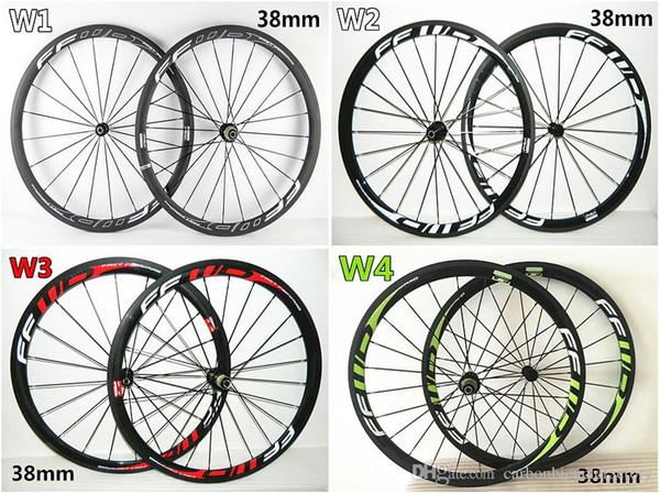 Free shiping Full carbon fibre road bike carbon wheels 4 Models FFWD F4R 38mm carbon wheels with 23mm width Novatec A271 Hubs