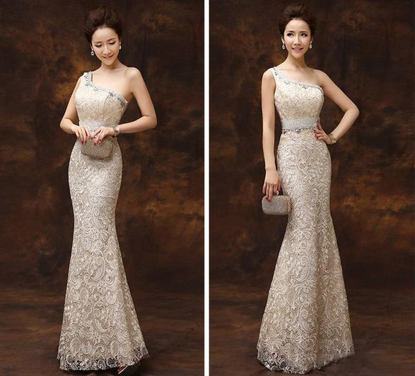 2016 New Shoulder Lace Mermaid Evening Dresses Sparkling Crystal Beaded Long Red Carpet Prom Dress Sexy Formal Pageant Robe Plue Size