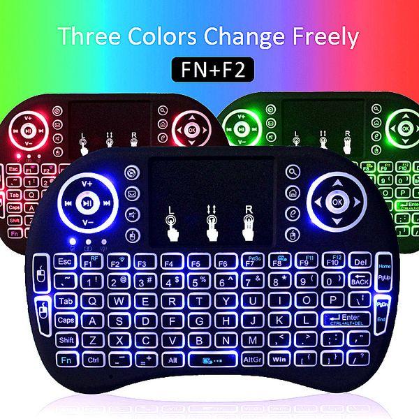 Arka Işık Mini Rii I8 Klavyeler 2.4G Kablosuz Fare Klavye Çok renkli Arka Işıklandırmalı TV Kutusu android için Oyun Paneli