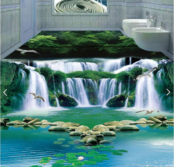 3d pvc flooring custom photo Waterproof floor wall sticker waterfall water green forest 3d wall murals wallpaper room decoration painting