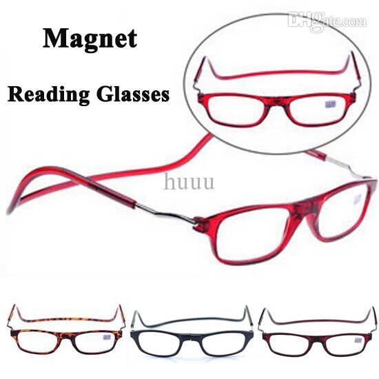 Whole ale 20pc lot magnetic reading gla e folding reading eyewear hanging connecting pre byopic gla e hipping