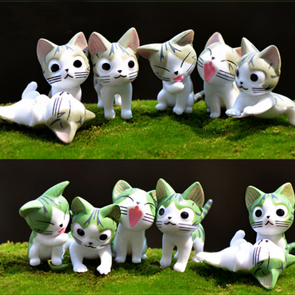 6pcs Cartoon Cheese Cat Plastic Craft Fairy Garden Miniatures Succulent Gnomes Bonsai Tools terrarium Figurines Dollhouse Toys Jardin Gnomes