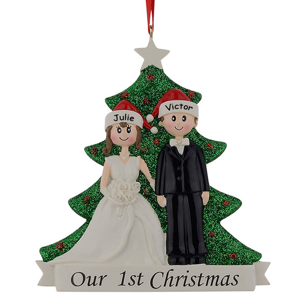 resin couple our first christmas engagement ornaments personalized gifts with glitter pine tree free name drop - Christmas Decorations Names