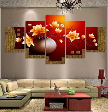 2017 Unframed 5 Piece Picture Flower Vase Canvas Art Print Oil Painting Wall Pictures for Living Room Paintings