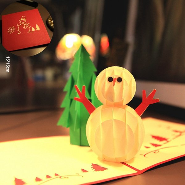 10pcs/lot Handmade 3D Pop Up Card Merry Christmas Greeting Cards Laser Cut Party Invitations with Envelope