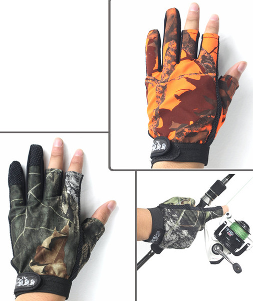 3 Cut Finger Fishing Fish Gloves Camouflage Anti-slip Gloves Hunting Shooting 2 colors for choose New