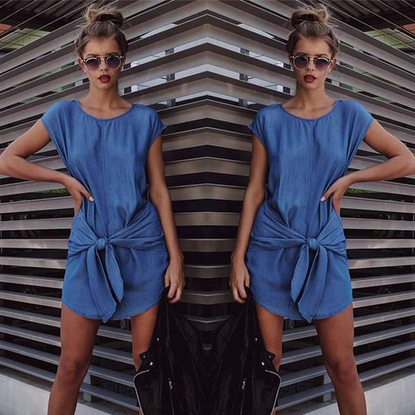 Europe et Amérique Nouvelle robe en jean à la taille avec sangle section longue robes à col rond Robe en jean à manches courtes 10