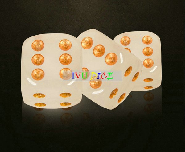 NEW 10pcs 16MM dice Light Green Transparent Glow Golden point 1-6 automatic mahjong GAME party machine dices bosons IVU